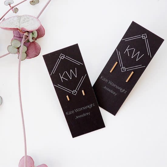 Kate Wainwright mini business cards as earring packaging