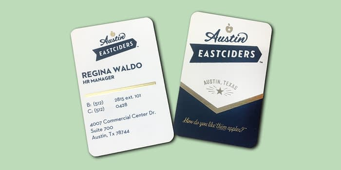 Austin Eastciders cards with gold foil details