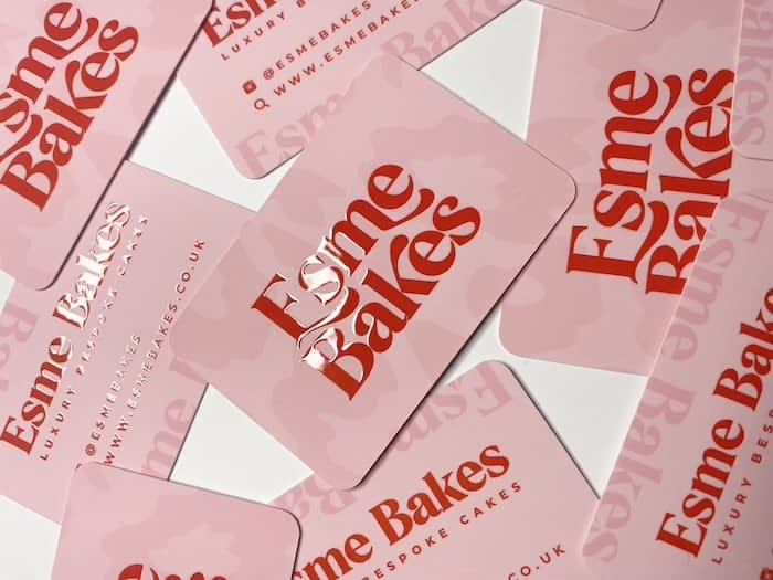 Esme Bakes pink business cards with red spot gloss lettering and rounded corners, designed by The Creative Studio Bristol