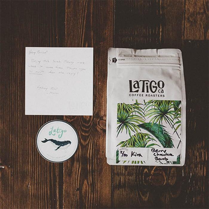 Latigo thank you note and sticker
