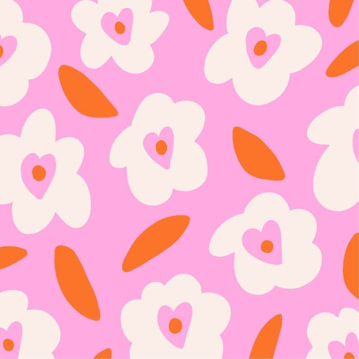 Flower love pattern design by Miou Studio representing white flowers with a pink heart at their center and red petals on a pink background