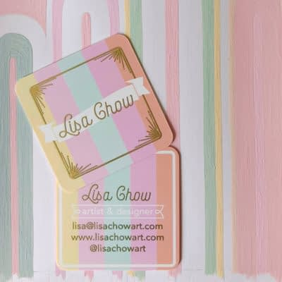 Lisa Ghow's gold business cards
