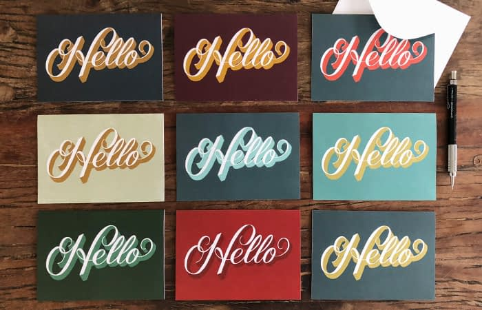 Jenny Carando Hello postcards