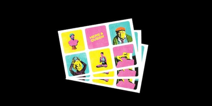 3 sheets of 6 mini square stickers with colorful pictures and slogans by Chris Printed This
