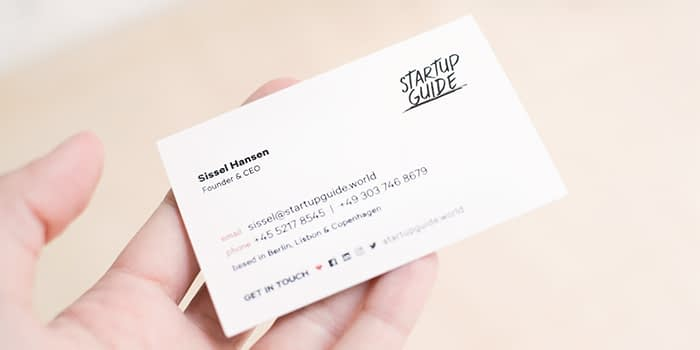 Startup guide CEO business card