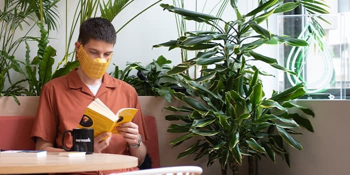 Person wearing a yellow paper face mask and reading a booklet. There is a WeWork mug on the table in front of him and the room is filled with plants.