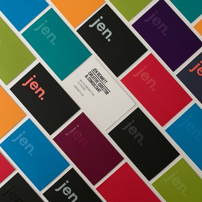 Jen Bennet spot UV business cards