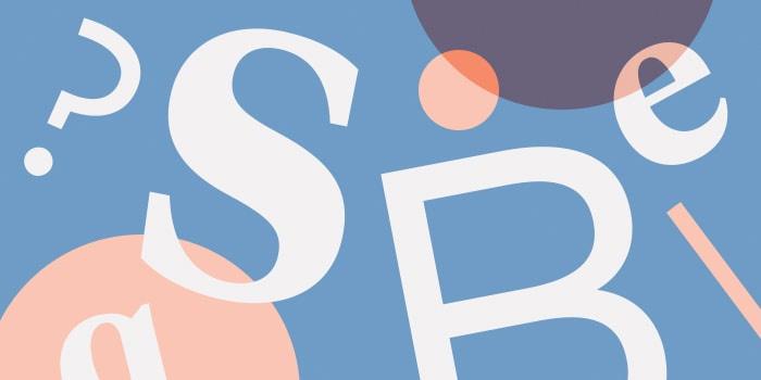 White letters, light orange and dark transluscent orange circles overlapping on a blue background