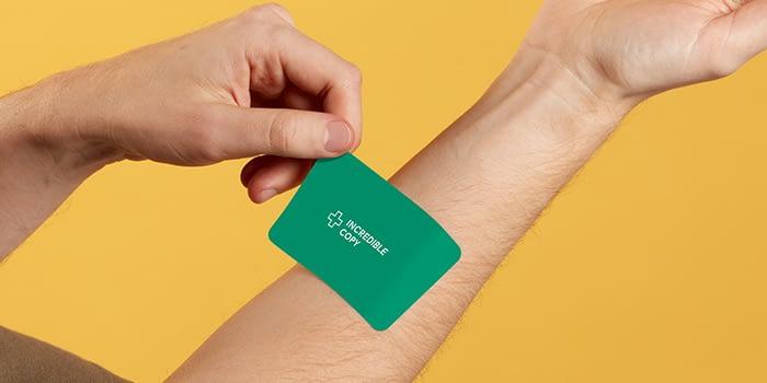Green rectangular power sticker by MOO