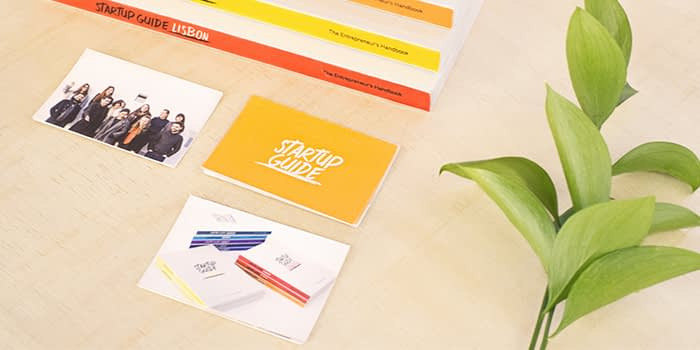 Startup guide business cards and guides