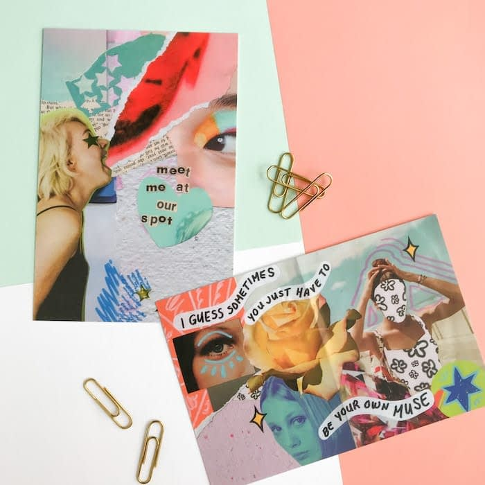 2 Paper Puso collage art postcards next to paper clips