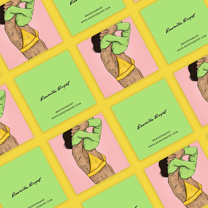 Ravnita Raynet green square business cards