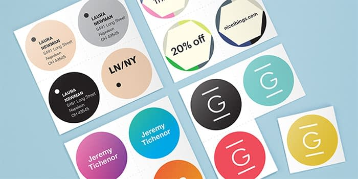 MOO brand stickers being used for multiple purposes, including detailed business stickers, promotional stickers and branded stickers