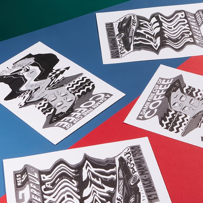 Beautiful distorted illustrations on postcards by Charlie Gould