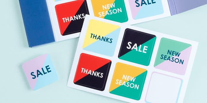 moo brand stickers using printfinity to give different messages, including sale promotional stickers and brand stickers to say thanks