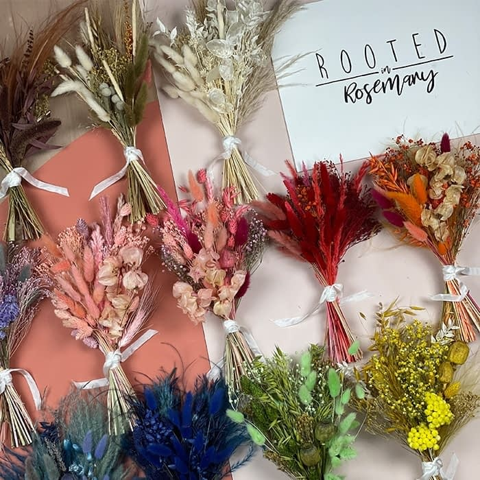 Dried flower bouquets by Rooted in Rosemary floral design studio in Oxford