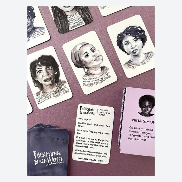 Phenomenal Black Women memory game featuring cards with watercolor portraits of historical Black women by Lydia Makepeace