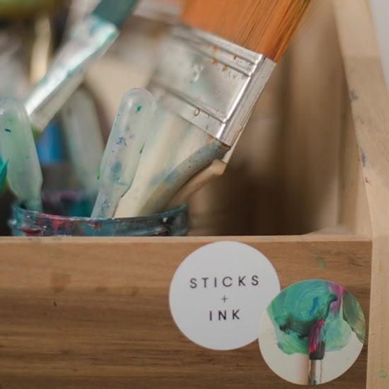 Sticks + Ink stickers on brush box