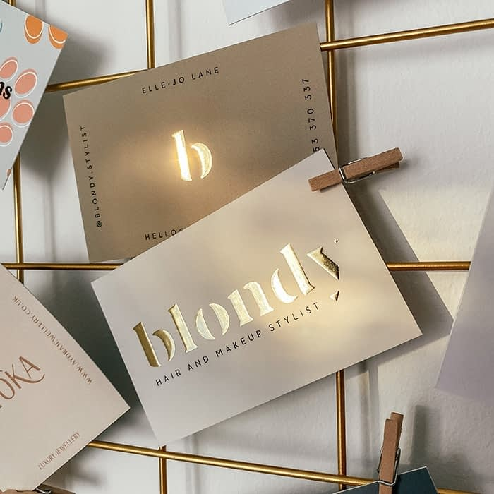 Blondy hairdresser gold foil business cards by Lucy's Logos