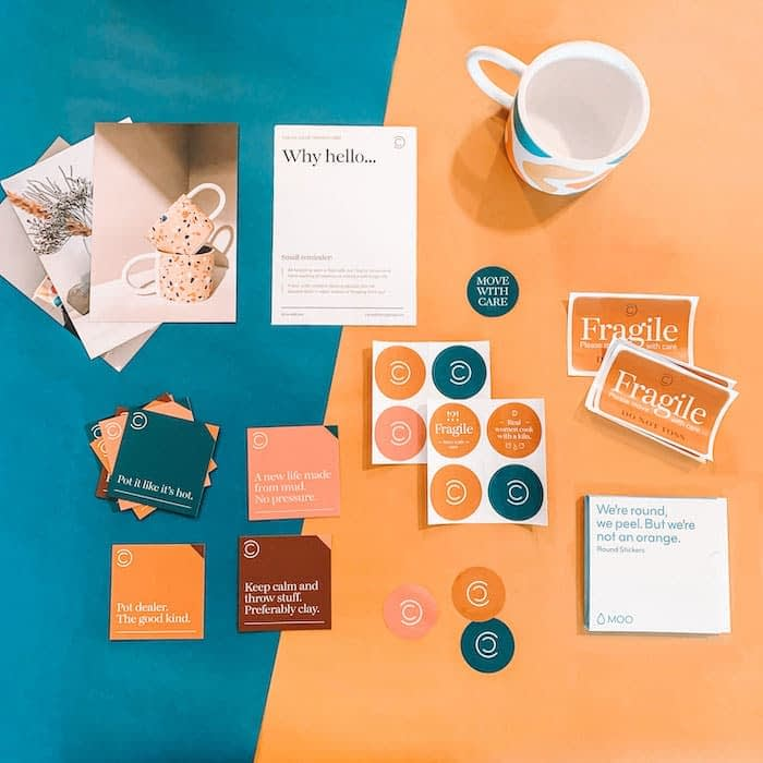 Colorful stickers, square cards, labels and flyers by Carved Colors