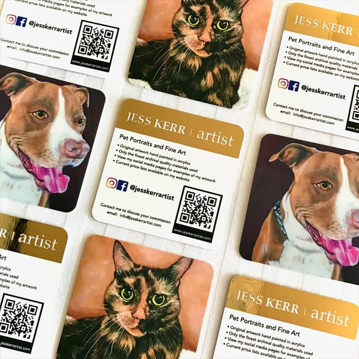 Square business cards with cats and dogs by artist Jess Kerr