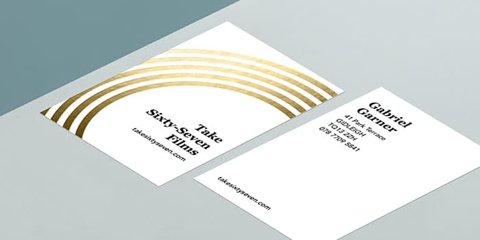 MOO Gold Foil Business Card template front and back with five golden rings
