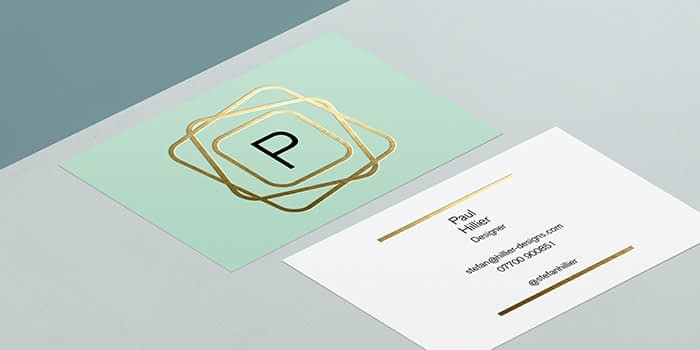 MOO Gold Foil Business Card template front and back with geometric gold design