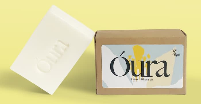 Óura soap and packaging with MOO sticker