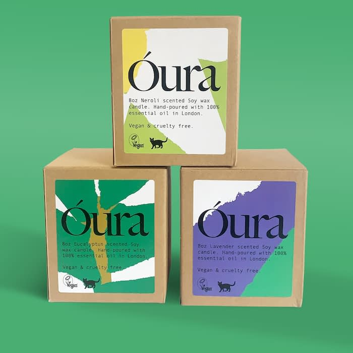 Óura trio of candle boxes with custom labels