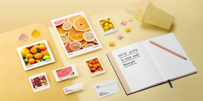 marketing materials on yellow background