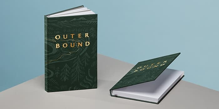 North Coast Wine Co Outer Bound green full print hardcover notebooks with gold foil designs by MOO