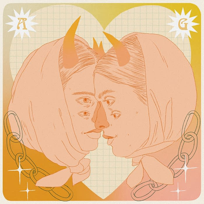 Surrealist portrait of a couple with horns and two pairs of eyes by arose.garden