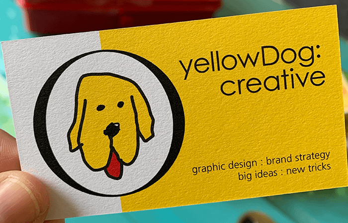 yellowdog creative branding agency business card with clear brand logo