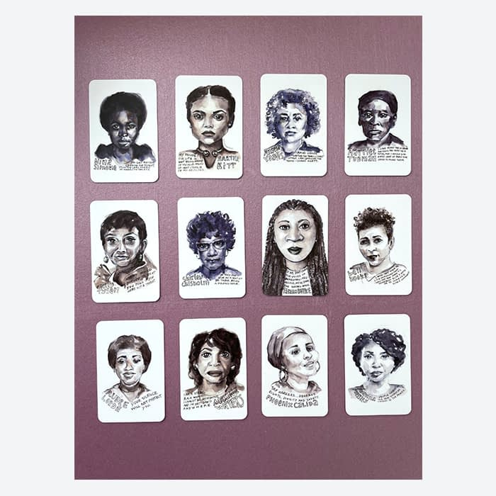 Phenomenal Black Women cards with watercolor portraits of historical Black women by Lydia Makepeace