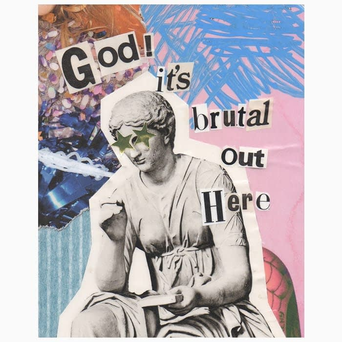 Collage artwork with a Greek statue and message by Mya Naguit from Paper Puso
