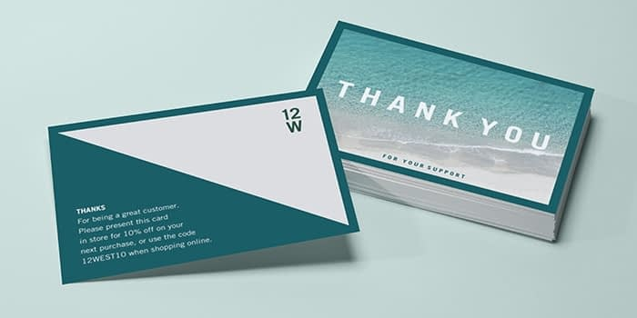 Postcard front and back with the Sea Change customizable postcard template by MOO