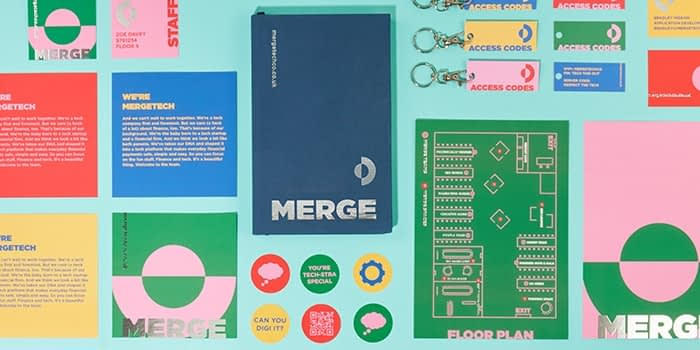 Set of colorful print marketing materials with consistent branding