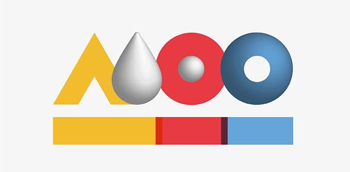 MOO Bauhaus logo in the style of Herbert Bayer