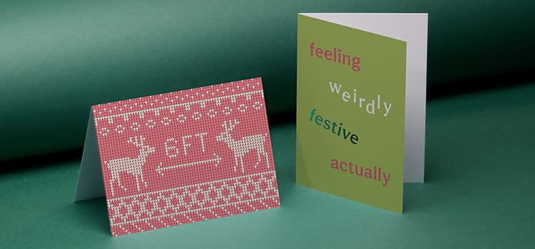 socially distancing reindeer Christmas cards for businesses
