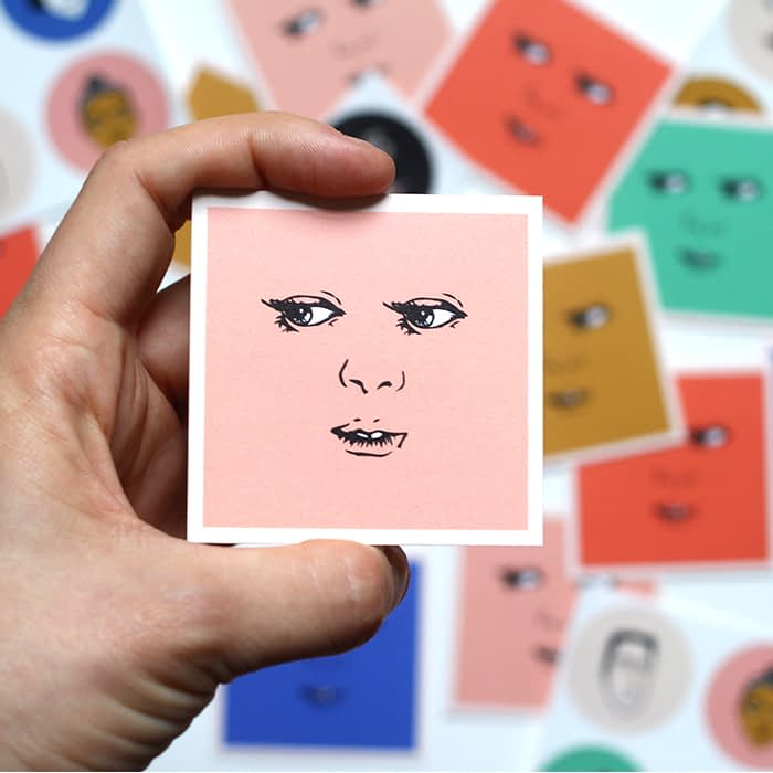 Freckled Fuchsia eyes square business cards