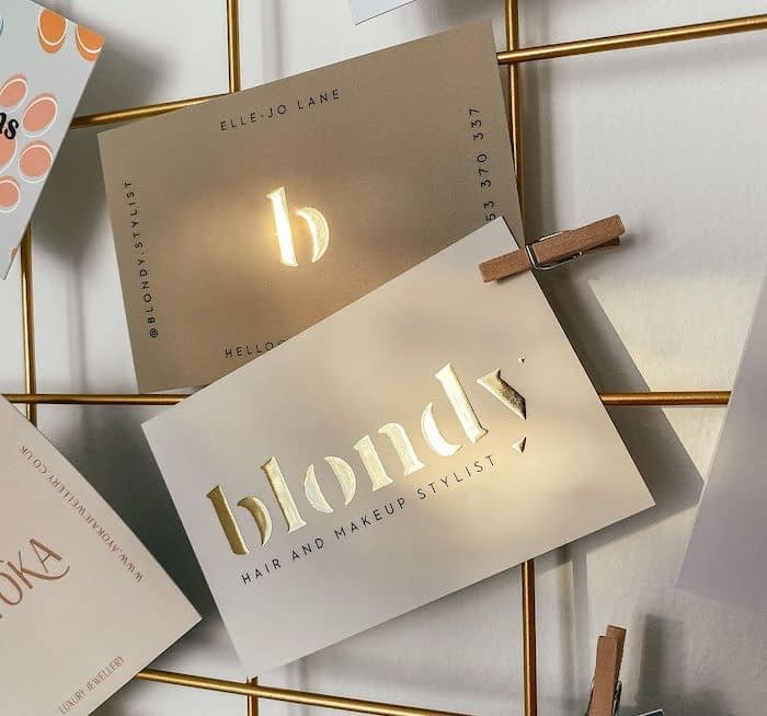 Blondy hair stylist business cards with gold foil by Lucys Logos