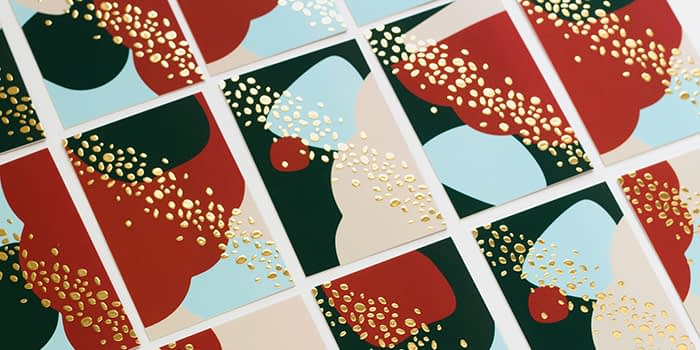 Mosaic of Pelikan print gold foil business card designs