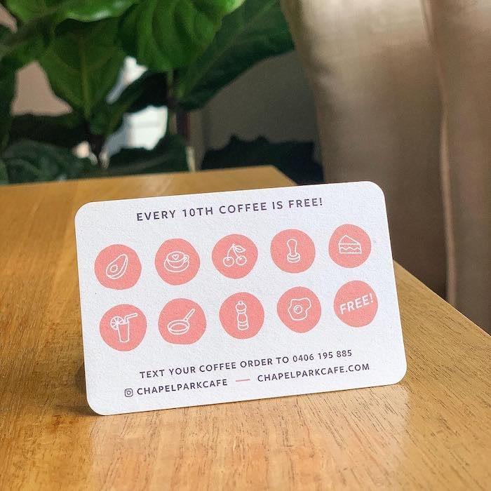 Rhianna B Dunn loyalty card design for Chapel Café