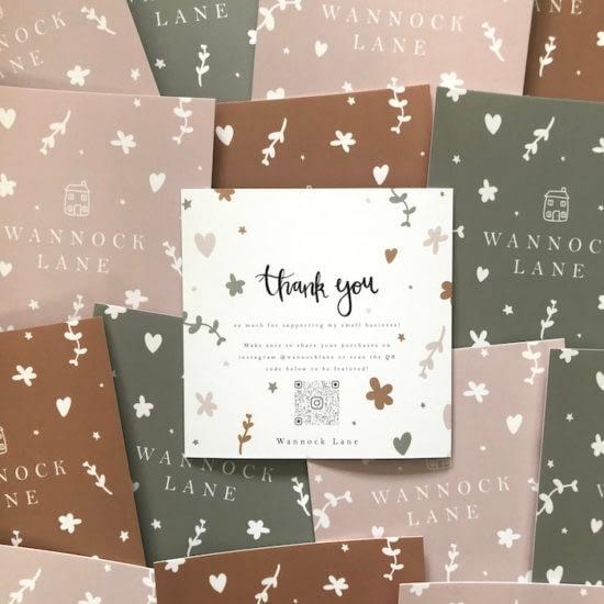 Wannock Lane thank you card by Laura Scott