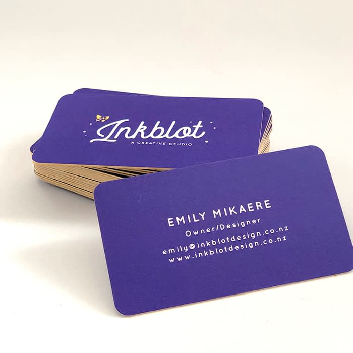 Inkblot thick business cards with rounded corners