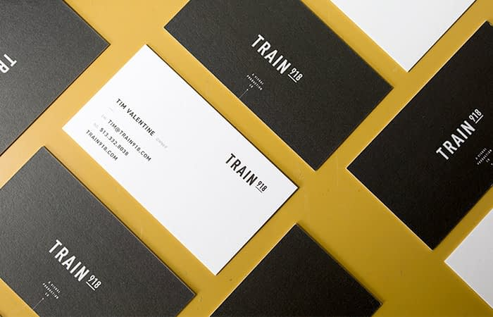 Train black and white business cards