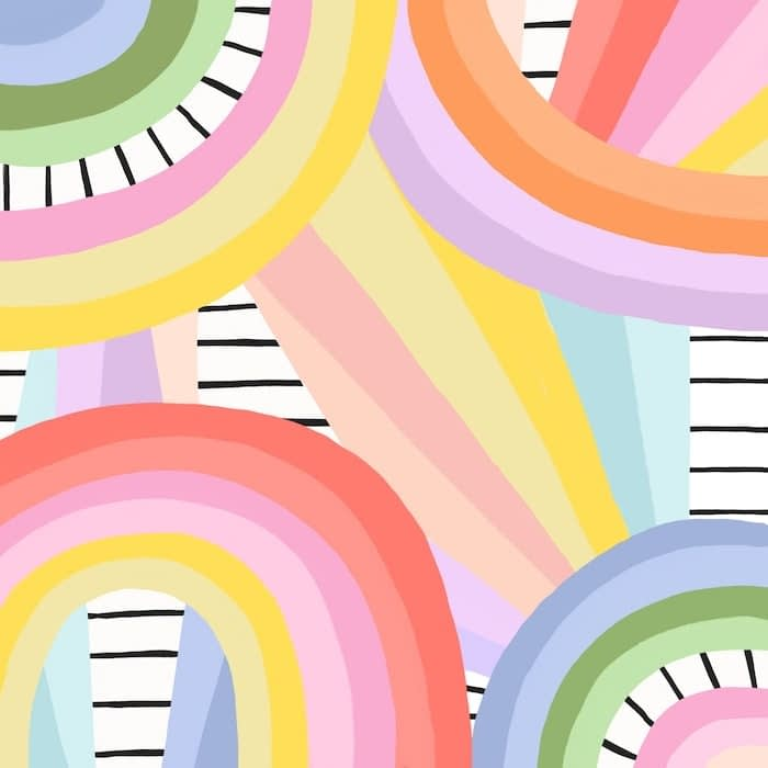Pattern design by Brook Gossen representing colorful rainbows in different colors on a striped black and white background