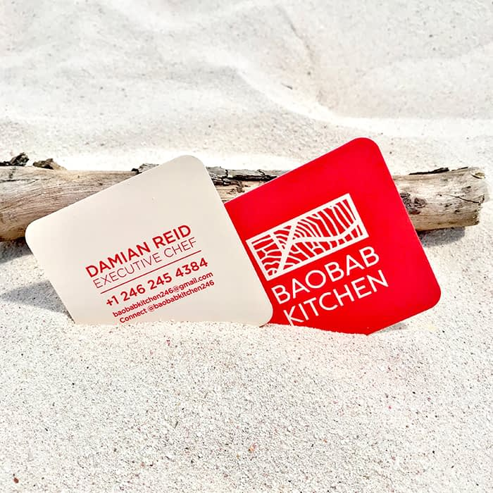 Baobab Kitchen square business card with rounded corners