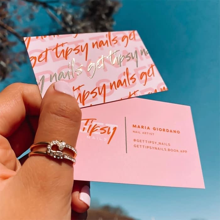 Get Tipsy pink business cards by Lucy's Logos