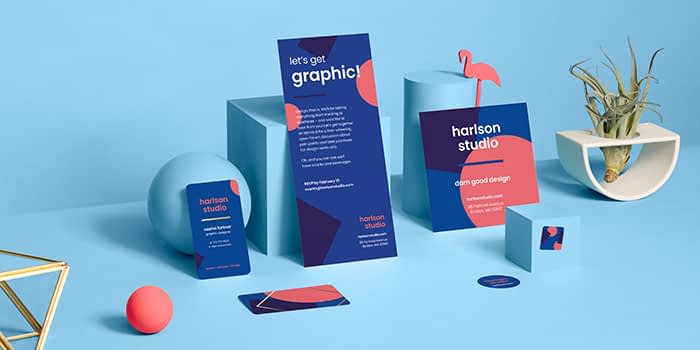 marketing materials on blue background